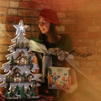 Дерев'яна ялинка підсвічуванням, новорічний декор, ялинка з дерева, подарунок на Новий рік,ялинка з дерева