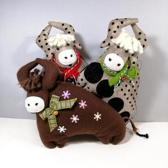 Символ года бык Новогодняя мягкая елочная игрушка корова Бычок на елку