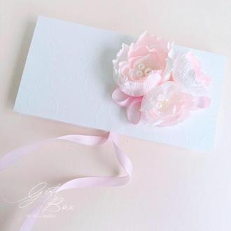 """Gift Box """"Kollet"""" Цвет 1 (бело-розовый) - открытка в коробочке"""