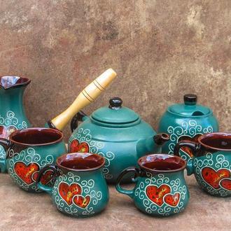 Сервіз чайно-кавовий на 2 особи декор Серце зелений