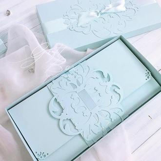 "GiftBox ""Pino"" Цвет 10 (бирюза) - открытка в коробочке"