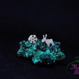 Серебряные серьги-гвоздики Новогодние