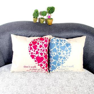 """П000128Парные декоративные подушки с принтом """"Половинки сердца"""""""
