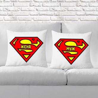 """П000130Парные декоративные подушки с принтом """"Супер Жена и Муж"""""""