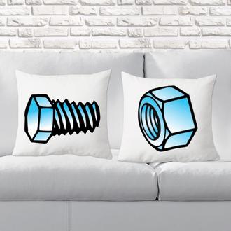 """П000147 Парні декоративні подушки з принтом """"Гайка і Гвинтик"""""""