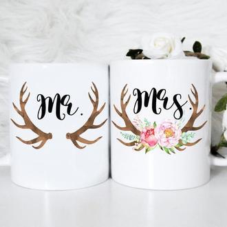 """К000468Парные белые чашки (кружки) с принтом """"МИстер и Миссис"""""""