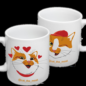 """К000469Парные белые чашки (кружки) с принтом """"Влюбленные коты"""""""