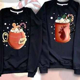 """СП004063Парные свитшоты с принтом """"Рождественские напитки"""" Push IT"""