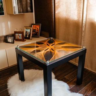 Кофейный журнальный кальянный  стеклянный стол стринг арт, coffee table string art