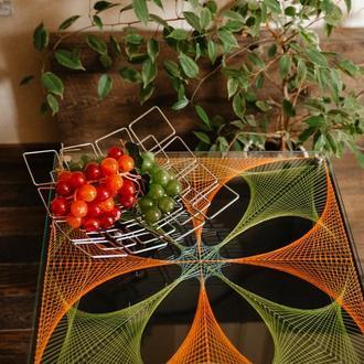 Кофейный журнальный столик стринг арт светится в ультрафиолете