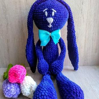 Пасхальный заяц, пасхальный декор,Зайка. Вязаный зайка. Амигуруми. Синий плюшевый зайка. Игрушка