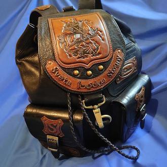 """Кожаный рюкзак """"СВ.ГЕОРГИЙ ПОБЕДОНОСЕЦ"""" с инициалами"""