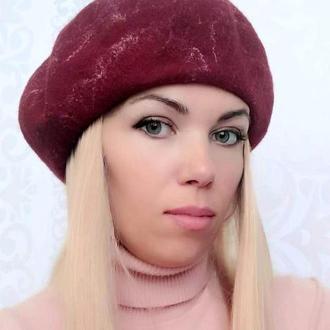 Берет женский шерстяной бордовый