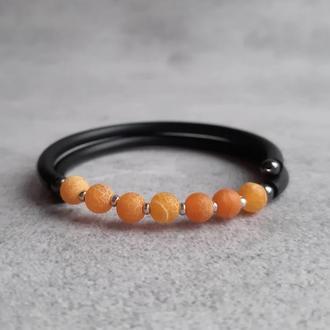 Женский браслет с желтым агатом кракле. Браслет с натуральными камнями. Подарок браслет.