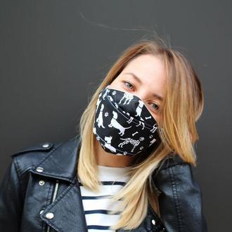 Многоразовые двухслойные маски Днепр, маска киев, черная маска для лица киев