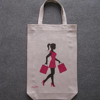 Эко-сумка ′Девушка в розовом′.