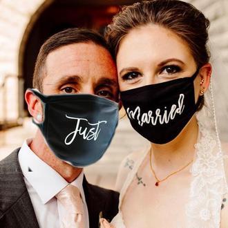 """Парные маски многоразовые  с принтами """"Just Married"""""""