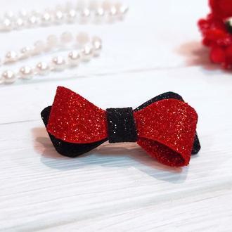 Бантик Eternity для собаки черно-красный блестящий для выставок и дома Pets Couturier SIMBA