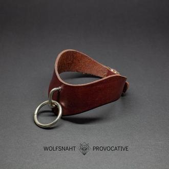 Кожаный фигурный ошейник с кольцом