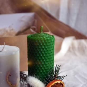 Зеленая свеча из воска | зелена воскова свічка