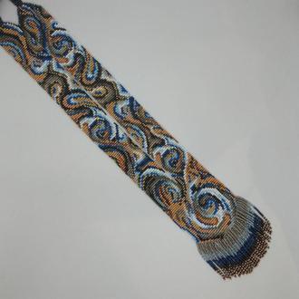 """Слитный гердан-галстук """"Вихрь"""" в серо-голубых цветах"""