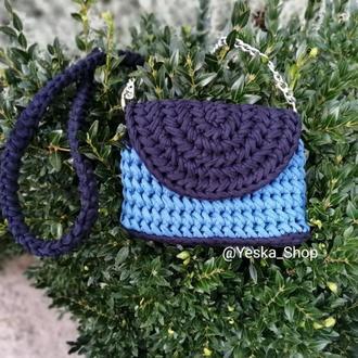 Сумка клатч ручной работы, синяя