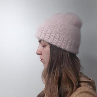 Шапка из ангоры, вязаная шапка, пудровая шапка