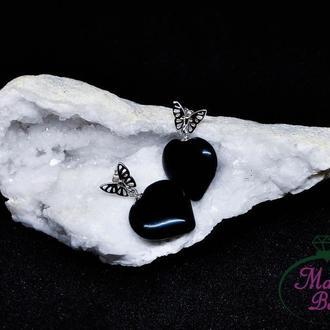 Серебряные серьги-гвоздики с черным агатом