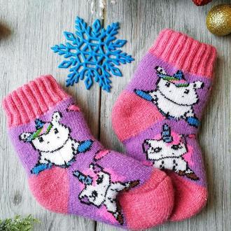 Носки детские шерстяные зимние для девочки 2-3 года Единорожки