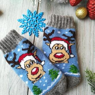 Носки детские шерстяные зимние для мальчика 3-4 года Оленёнок на голубом