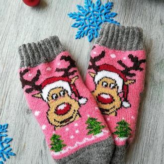 Носки детские шерстяные зимние для девочки 3-4 года Оленёнок на розовом