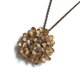 Винтажный цветочный кулон на цепочке, золото бронза (ручная работа)