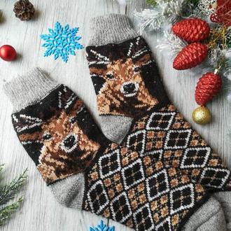 Носки мужские шерстяные зимние вязаные новогодние на новый год Олень, р. 41-43
