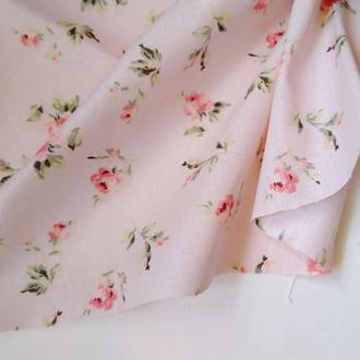 Ткань хлопок для рукоделия винтажные розочки на розовом фоне