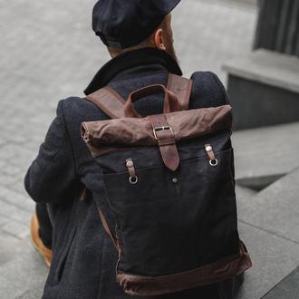 Стильный городской рюкзак с оделением для ноутбука. Эксклюзивный роллтоп. Кожа.Канвас. Винтажный