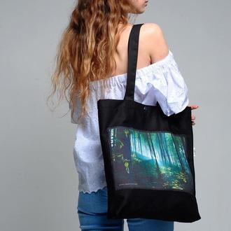 Эко-сумка с фото принтом Весенний Лес, черный шоппер с карманом, сумка для покупок, арт авоська