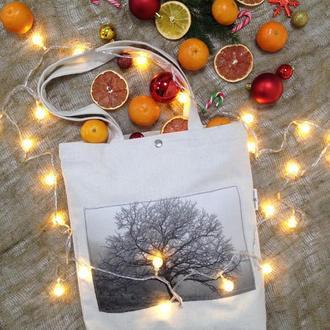 Эко-сумка с фото принтом Дерево, белый шоппер с карманом, эко-торба, сумка для покупок, арт авоська