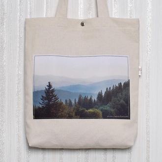 Белый шоппер с фото принтом горы Карпаты, эко сумка с карманом, сумка для покупок, арт авоська торба