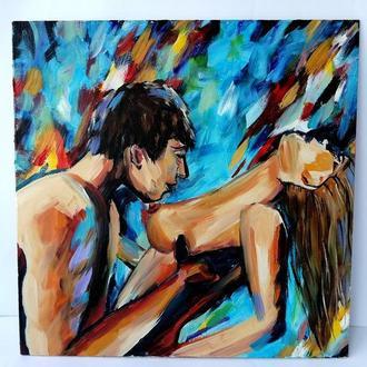 Абстрактная картина пара людей, Влюбленная пара картина, Авторская живопись, Масляная живопись