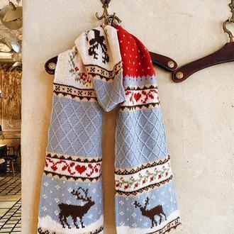 Вязаный шарф с оленями «Астрид»