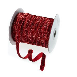 Оксамитова стрічка червона блискуча