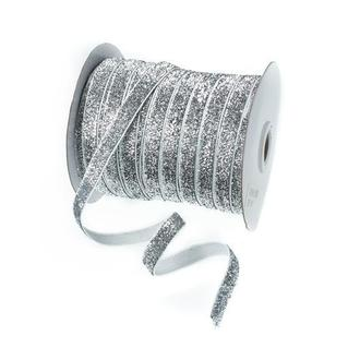 Оксамитова стрічка блискуча срібло