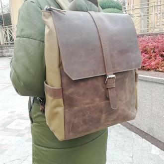 """Рюкзак городской для ноутбука из водонепроницаемой """"Кордуры"""" и натуральной кожи."""