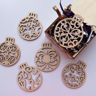 Подарочный набор деревянных елочных игрушек
