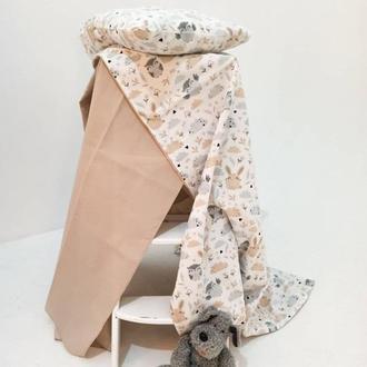 """Комплект """"Кролики и совы"""" для новорождённых, детское постельное белье, постель"""