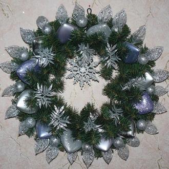 Рождественский венок серебряный
