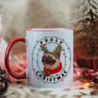 Чашка новогодний мопс