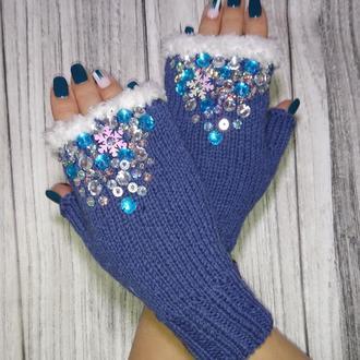 Вязаные митенки - перчатки без пальцев - оригинальный подарок