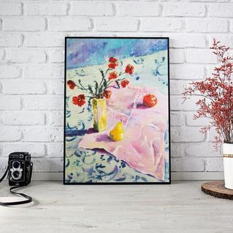 Картина Натюрморт з рожевою серветкою