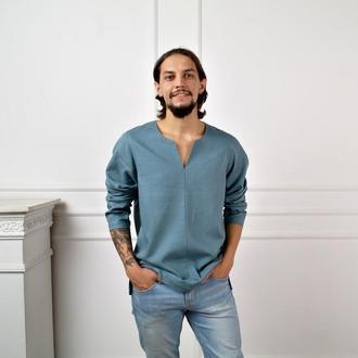 Мужская рубашка из натурального льна